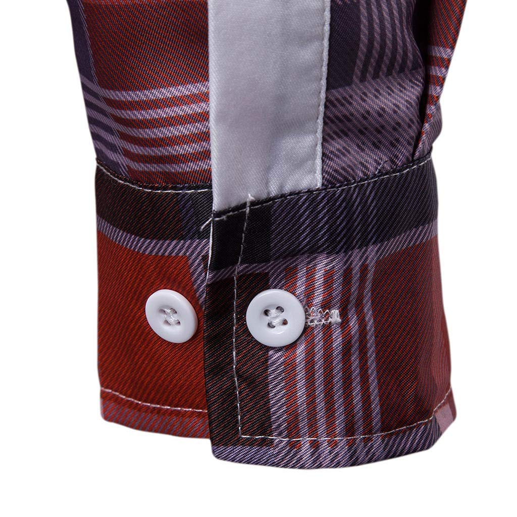 NUWFOR Men's Long Sleeve Lattice Plaid Painting Large Size Casual Top Blouse Shirts(Red,XL US/3XL AS Bust:43.2'') by NUWFOR (Image #7)