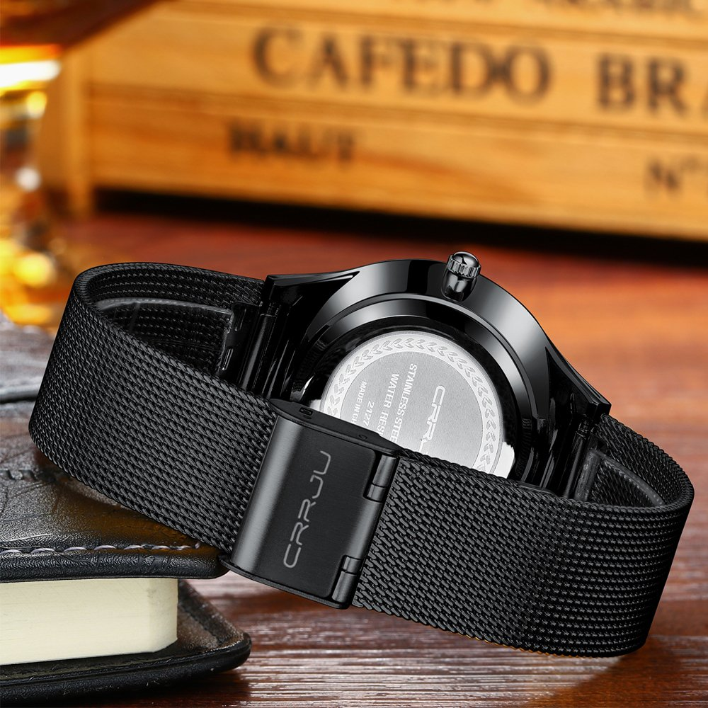 CRRJU Men Business Slim Analog Quartz Watch,Date Black Dial Wrist Watch with Mesh Bracelet Strap by CRRJU (Image #4)