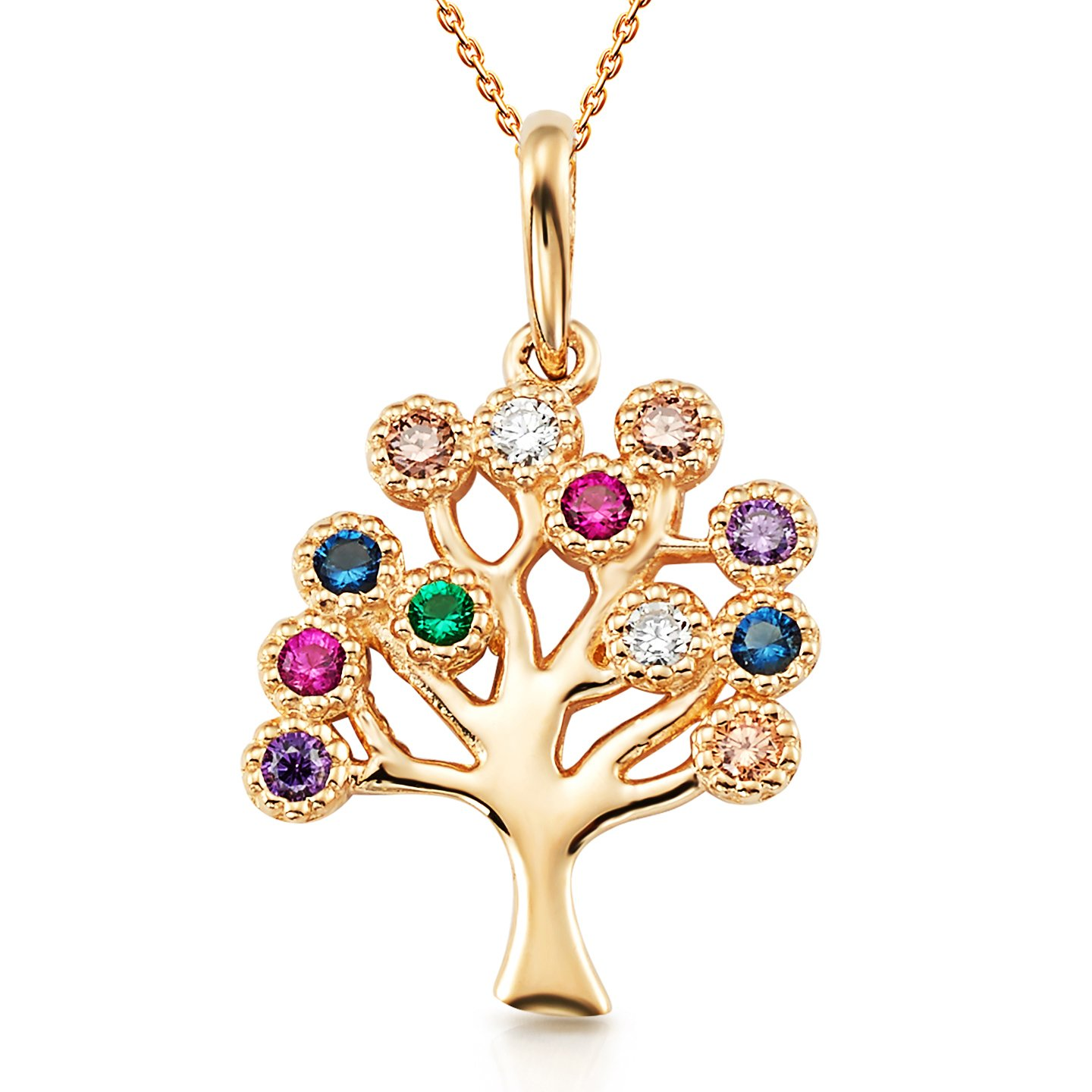 Colorful Tree Of Life CZ Pendant with 18'' Chain in 14K Yellow Gold Necklace