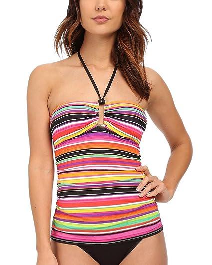 ac88b86773 Lauren Ralph Lauren Women s Striped Hardware Halter Tankini Top at ...