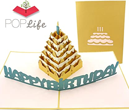3D Happy Birthday Cake Pop-Up Greeting Cards Handmade Paper Holiday Party Acces