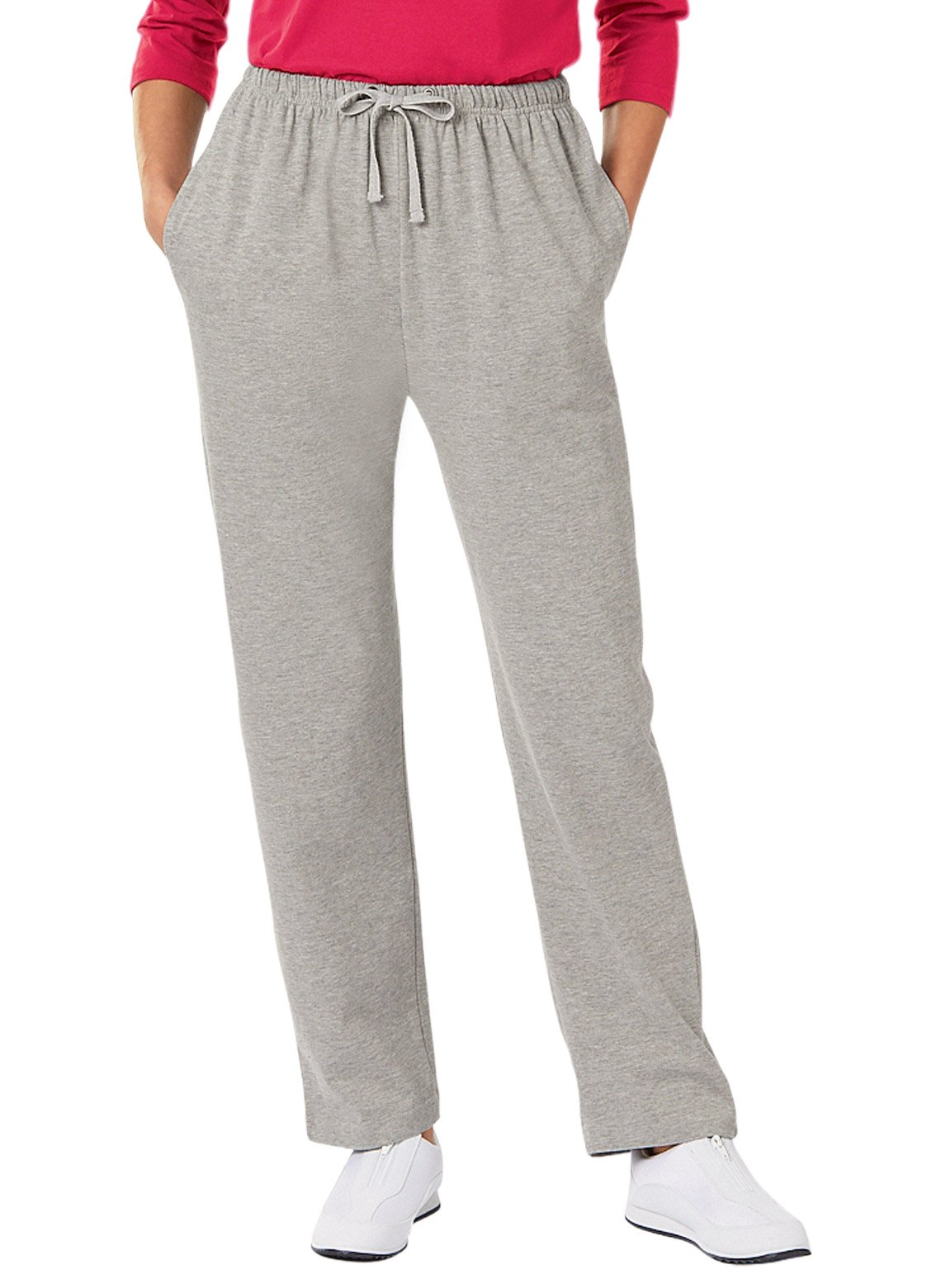 Carol Wright Gifts Jersey Knit Pants, Gray, Size Medium