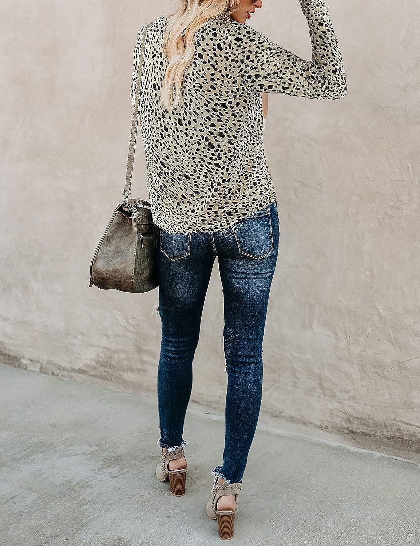 BMJL Womens Casual Leopard Print Tops Long Sleeve T Shirt Cute Blouse Graphic Tees