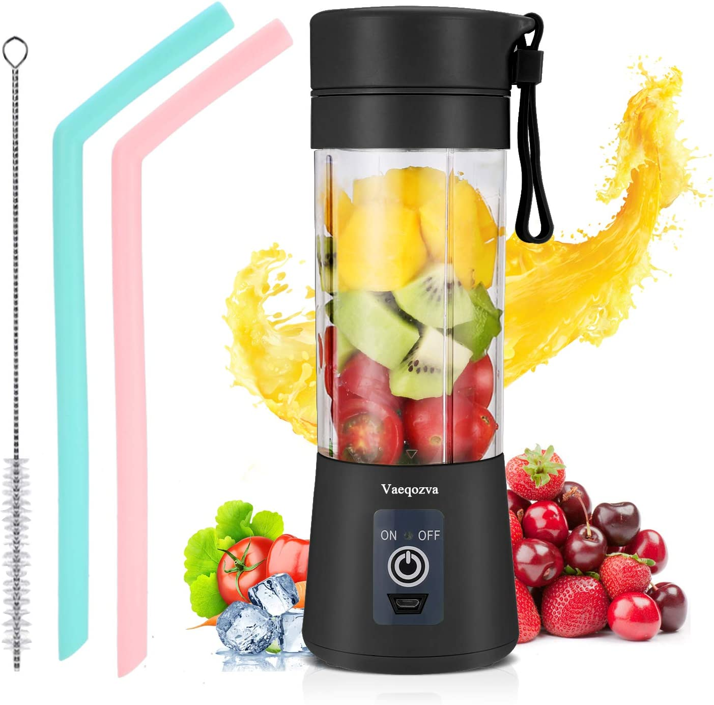 Portable Blender Personal USB Rechargeable Juicer Cup Smoothies and Shakes, Handheld Fruit Mixer Machine (Black)