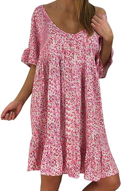 Women Flora Printed A-Line Mini Dress Short Sleeve Summer Party Dresses Casual Swing Beach Wear with Crop T-Shirt