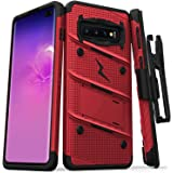 ZIZO Bolt Series for Galaxy S10 Plus Case with Kickstand Holster Lanyard - Red