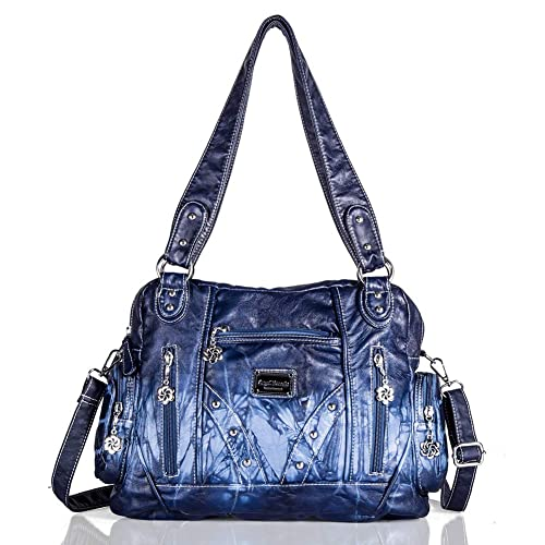 Roomy Fashion Hobo Womens Handbags Ladies Purses Satchel Shoulder Bags Tote Washed Leather Bag (AK161513 Blue)