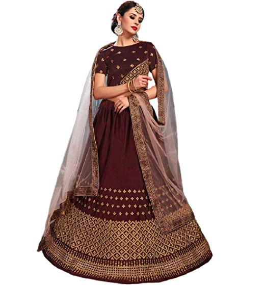 07d6bf6ed93 Lava Creation Women s Silk Embroidered Lehenga Choli (Colour -Brown ...