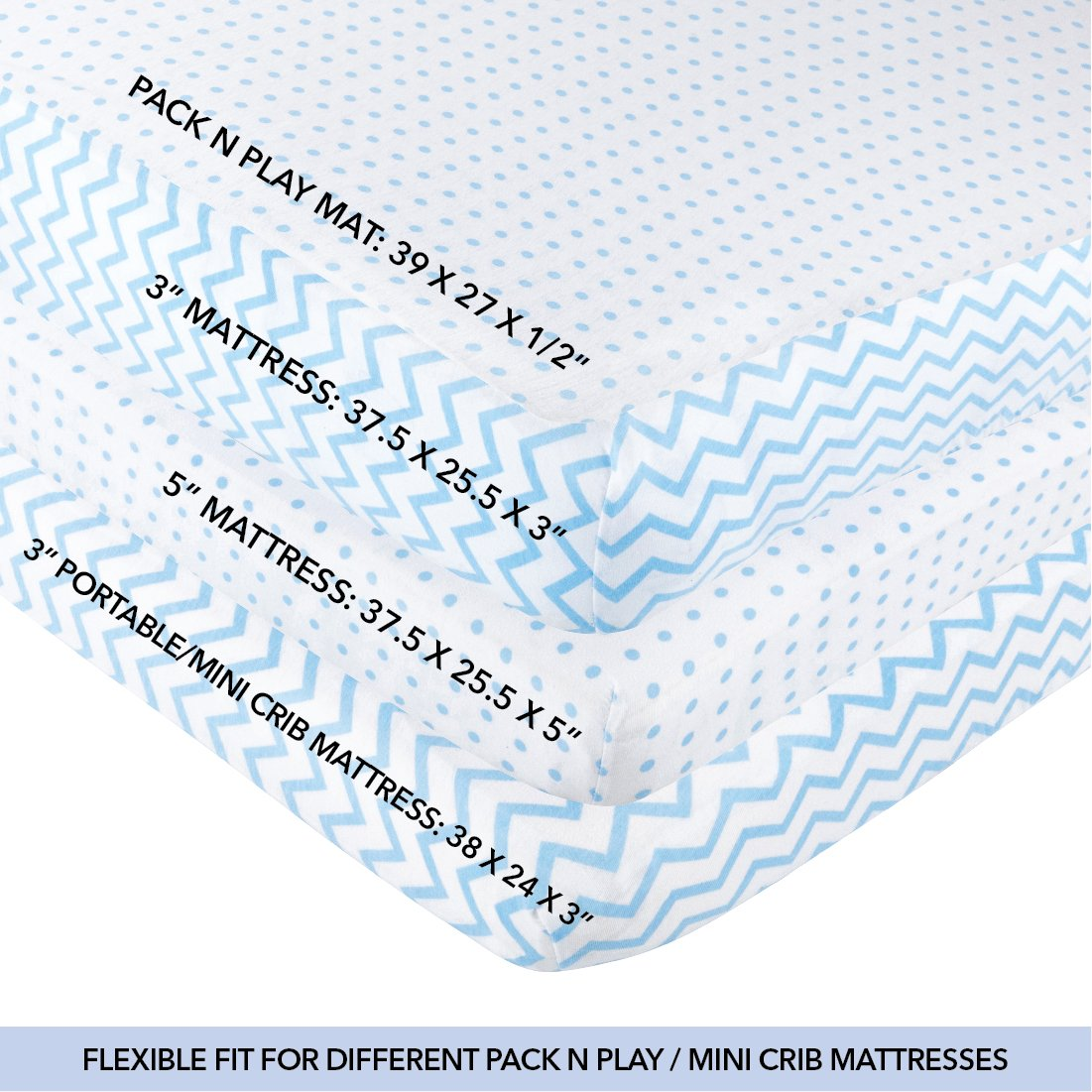 Pack N Play Portable Crib / Mini Crib Sheet Set 100% Jersey Cotton for Baby Boy by Ely's & Co. - Blue Chevron and Polka Dot 2 Pack by Ely's & Co (Image #4)