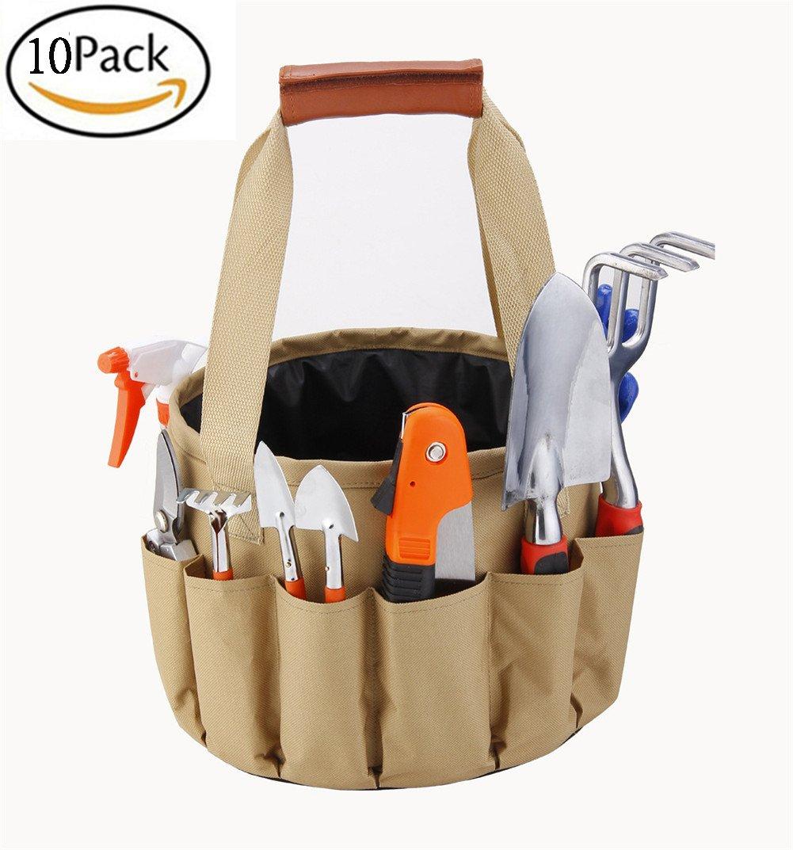 Outdoor Garden Tools Bag 10Pcs Gardening Tools Pack Set With Gloves Tote Trowel Pruners Bucket Bag Gardening Tool Kit Tools