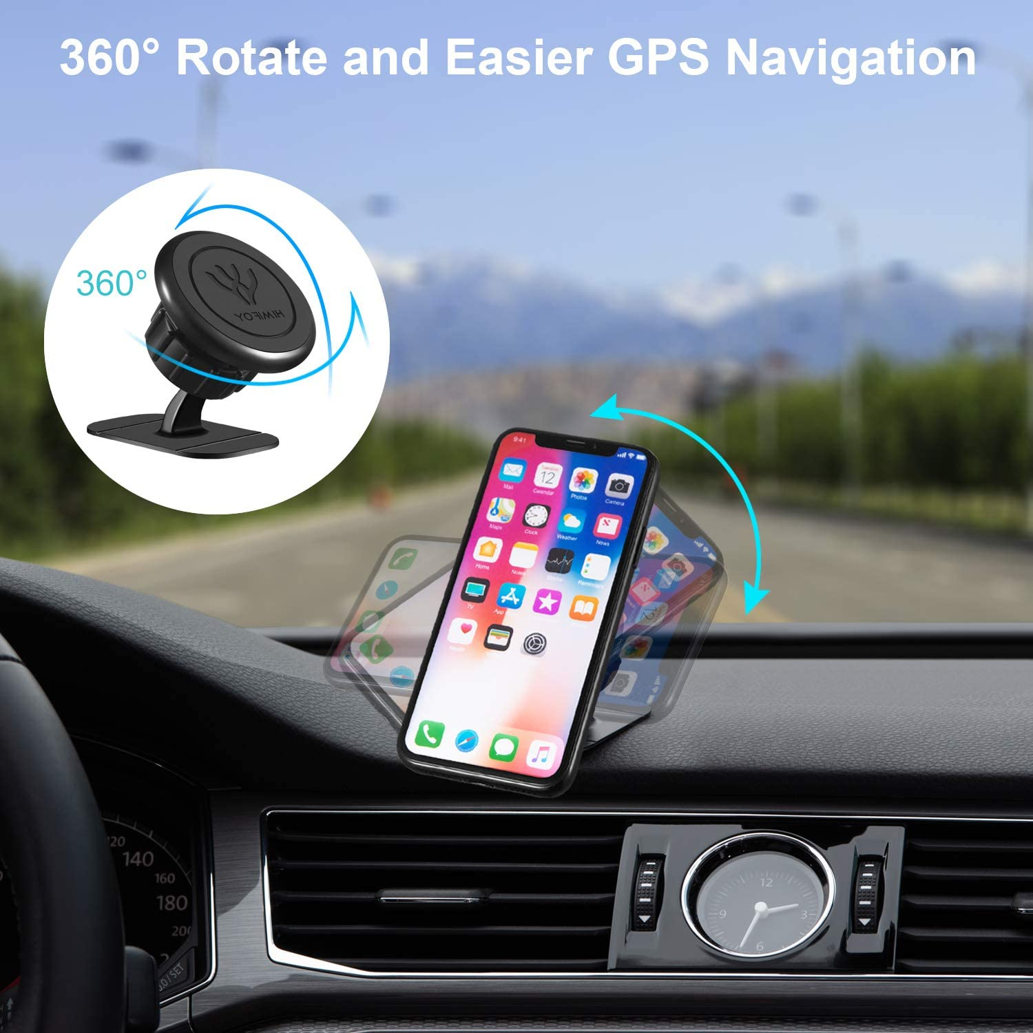 HIMIFOY Car Magnetic Phone Holder 2 in 1 Car Phone Mount Air Vent /& Dashboard Magnetic Phone Holder for Cell Phones and Mini Tablets