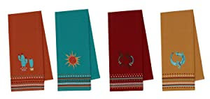 Design Imports Southwest Table Linens, 18-Inch by 28-Inch Dishtowels, Set of 4, 1 Cactus Embroidered, 1 Sun Embroidered 1 Kokopelli Embroidered and 1 Lizard Embroidered