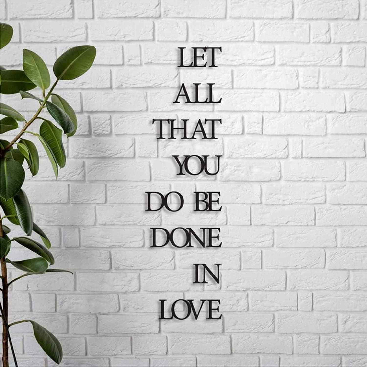 EricauBird Let All That You Do Be Done in Love Sign Metal Custom Monogram Wall Decor Sign Plaque Personalized Rustic Door Hanger Black Sign for Housewarming Gift