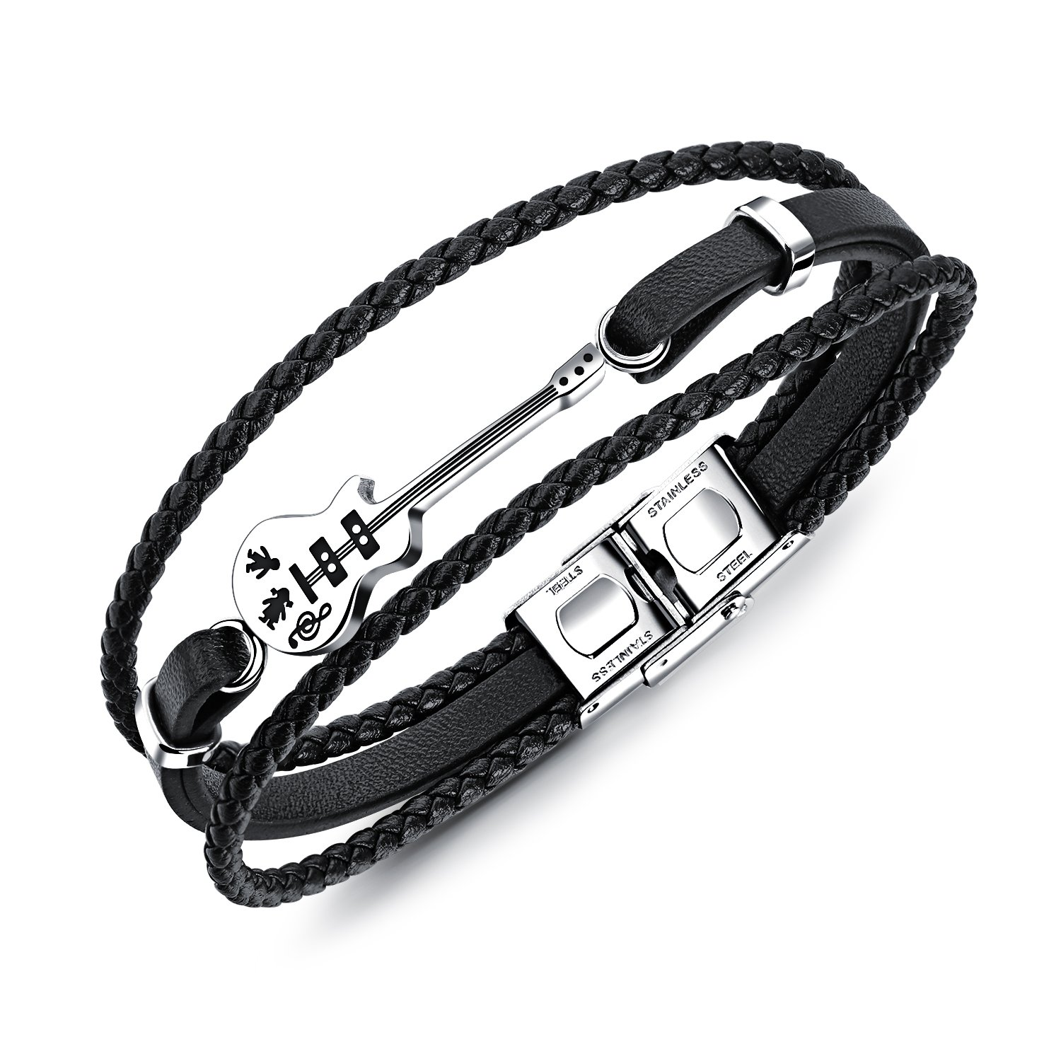 BONFASH Leather Bracelets for Men Women Unisex Rope Link Bracelets Stainless Steel Adjustable Black/Brown