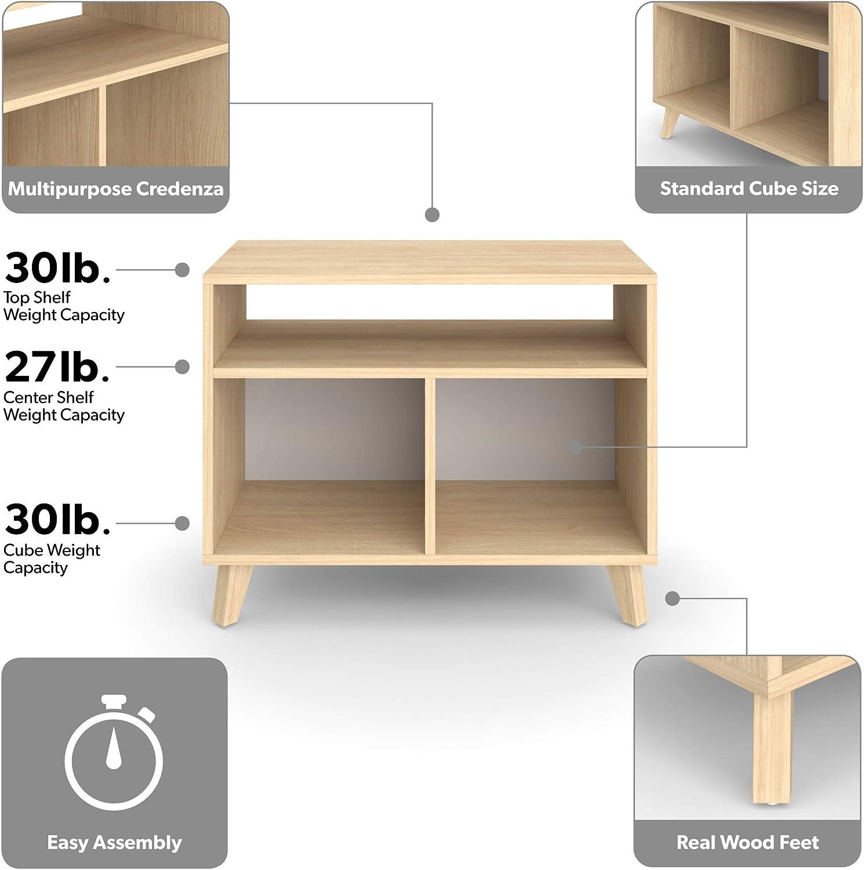 HON BASYX Commercial-Grade High Modern Cube Bookcase 36 H Real Wood Feet Light Walnut