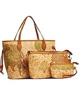 Amazon aibag retro tourist world map womens wallet purse buenocn vintage style world map faux leather handbag shoulder bag 3 pces shy237 gumiabroncs Choice Image