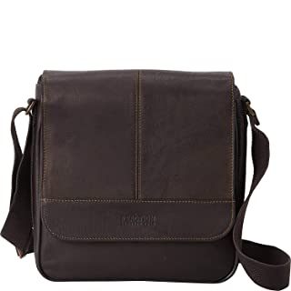 """Kenneth Cole REACTION Manhattan Full-Grain Colombian Leather Anti-Theft RFID Crossbody Tablet Bag, Brown, 12.1"""""""