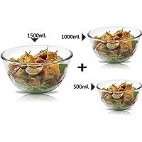 Signoraware Glass Bowl Set of 3, (500ml+1000ml+1500ml) Transparent