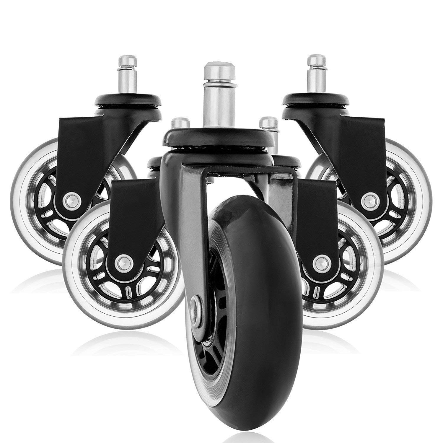 SODIAL Replacement Wheels, Office Chair Caster Wheels for Your Desk Chair, Quiet Rolling Casters Perfect for Hardwood Floors, Carpet, Laminate and Tile - Set of 5