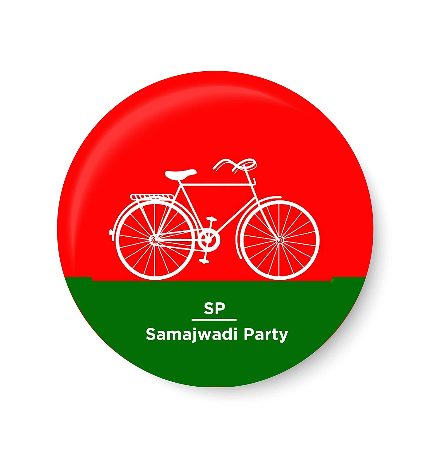 PEACOCKRIDE Vote for Your Party I Samajwadi Party Symbols Pin Badge (Metal,  Multicolour,37mm): Amazon.in: Home & Kitchen