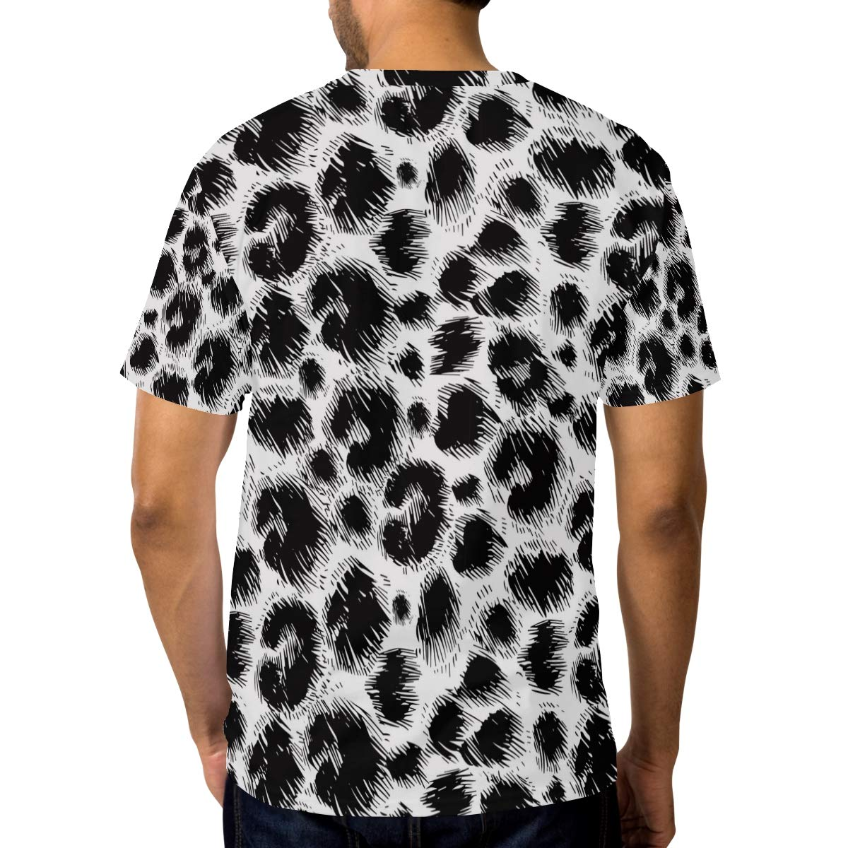 Horatiood Huberyyd Leopard Print Pumps Black Mens T Shirts Graphic Funny Body Print Short T-Shirt Unisex Pullover Blouse