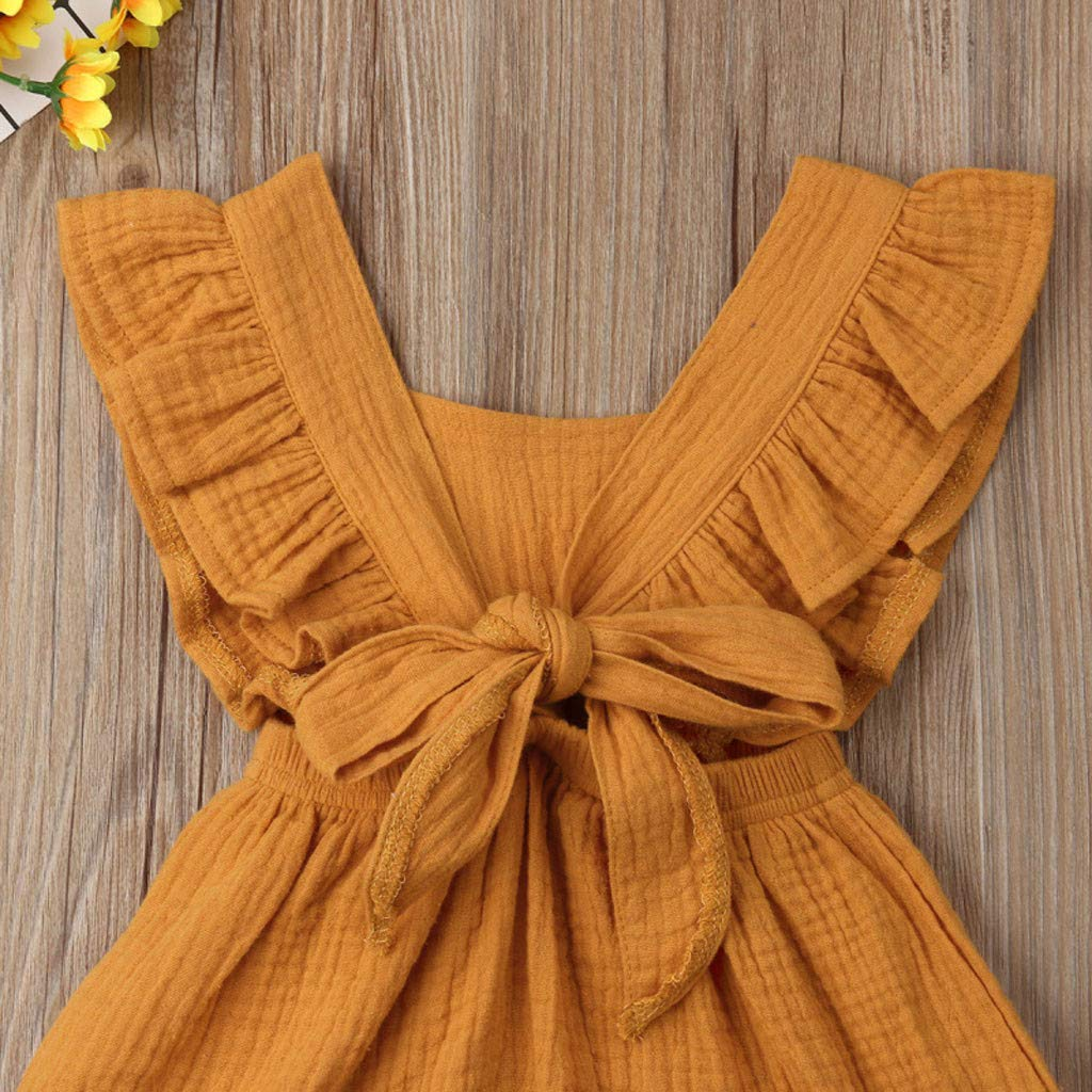 Newborn Infant Kids Summer Solid Ruffles Backcross Siamese Bodysuit Outfits Pajamas /♥ Baby Girl Clothes Romper