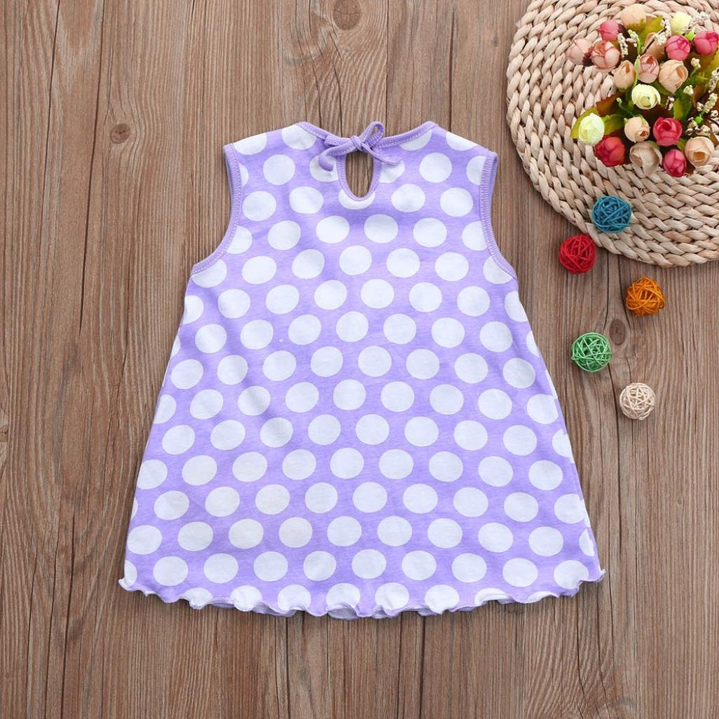 XEDUO Toddler Baby Cotton Flower Children Dot Striped Tees Dress T-Shirt Vest