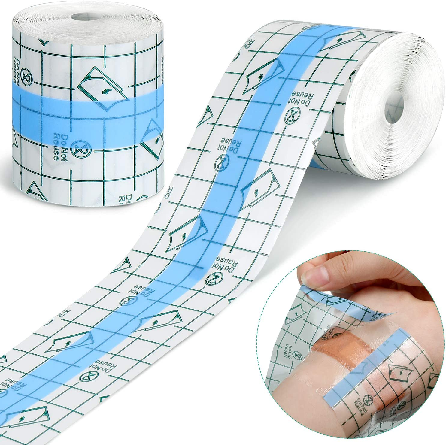 Tondiamo 2 Pieces Transparent Stretch Adhesive Bandage Waterproof Bandage Clear Adhesive Bandages Dressing Tape (2 Inch x 10.94 Yard): Health & Personal Care