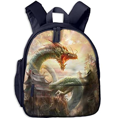 2e36823f0b Children Rucksack Student Book Chinese Dragon Imperial Backpak School  Bookbags Daypack Girls Boy Navy