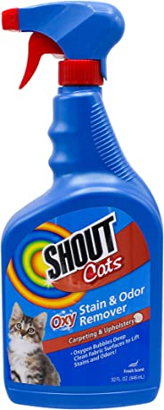 Shout for Cats Turbo Oxy Stain & Odor Remover | eliminates Pet Stains From Carpet & Surfaces | 32 fl oz, Fresh Scent
