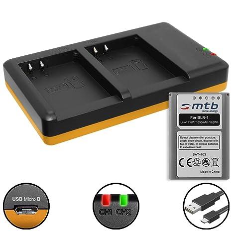 Batería + Cargador Doble (USB) para BLN-1 BLN1 / Olympus Pen E-P5 / OM-D E-M1, E-M5 (Mark I, II) / Pen-F - Contiene Cable Micro USB