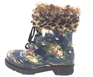 Women's Ankle Flat Warm for Outdoor Activities in Cold Winter Day Blue Rose Flower Transparent Clear Jelly Martin Rain Boots