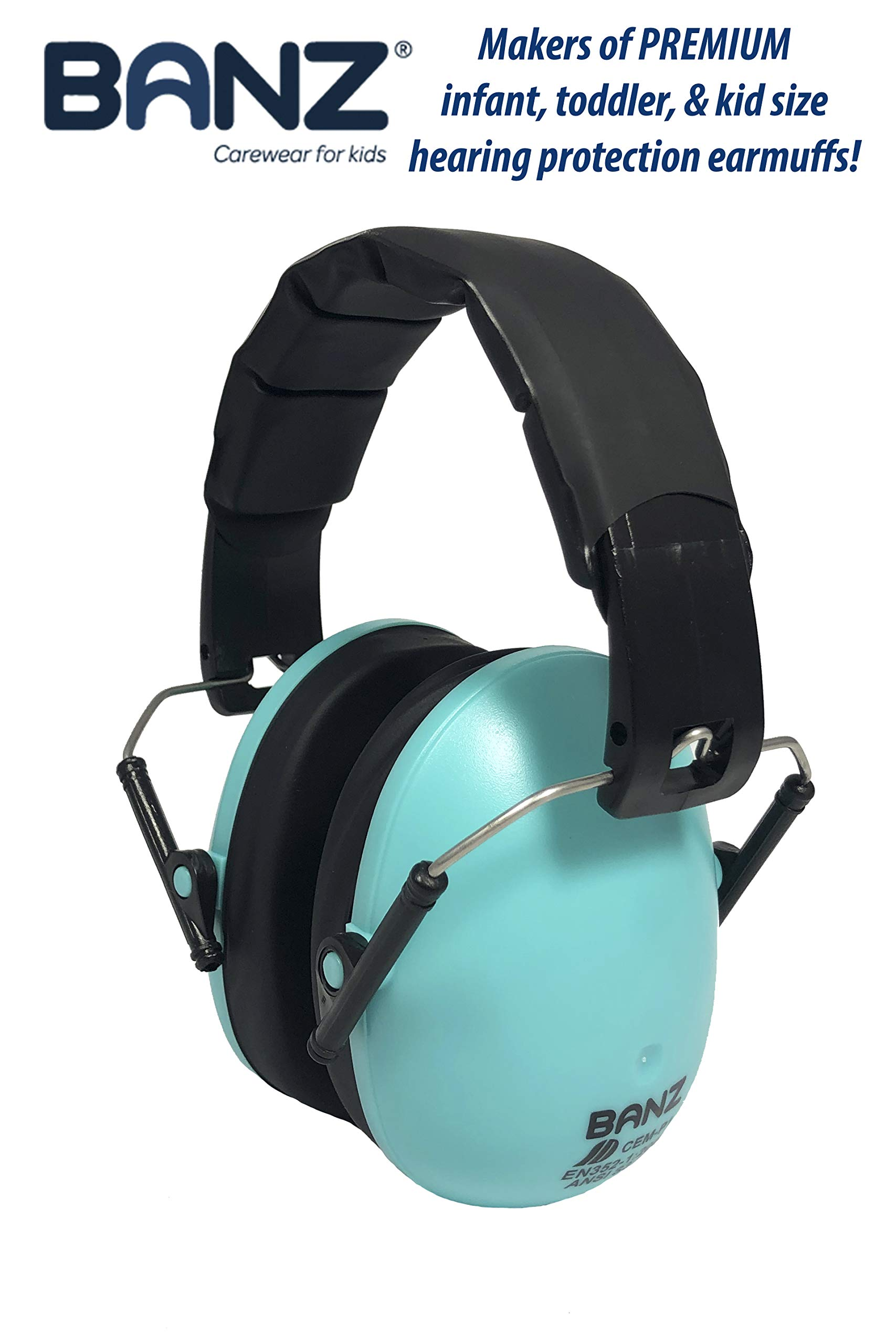 Baby Banz Earmuffs Kids Hearing Protection - Ages 2+ Years - THE BEST EARMUFFS FOR KIDS - Industry Leading Noise Reduction Rating - Soft & Comfortable - Kids Ear Protection, Turquoise