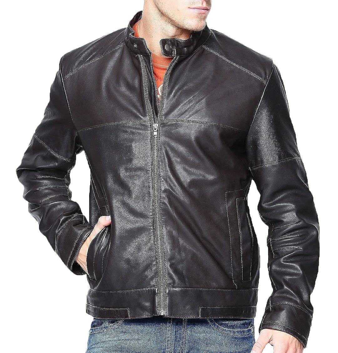 3ad0bb6e7 Black Mens Leather Jacket Slim Fit Biker Motorcycle Genuine Lambskin ...