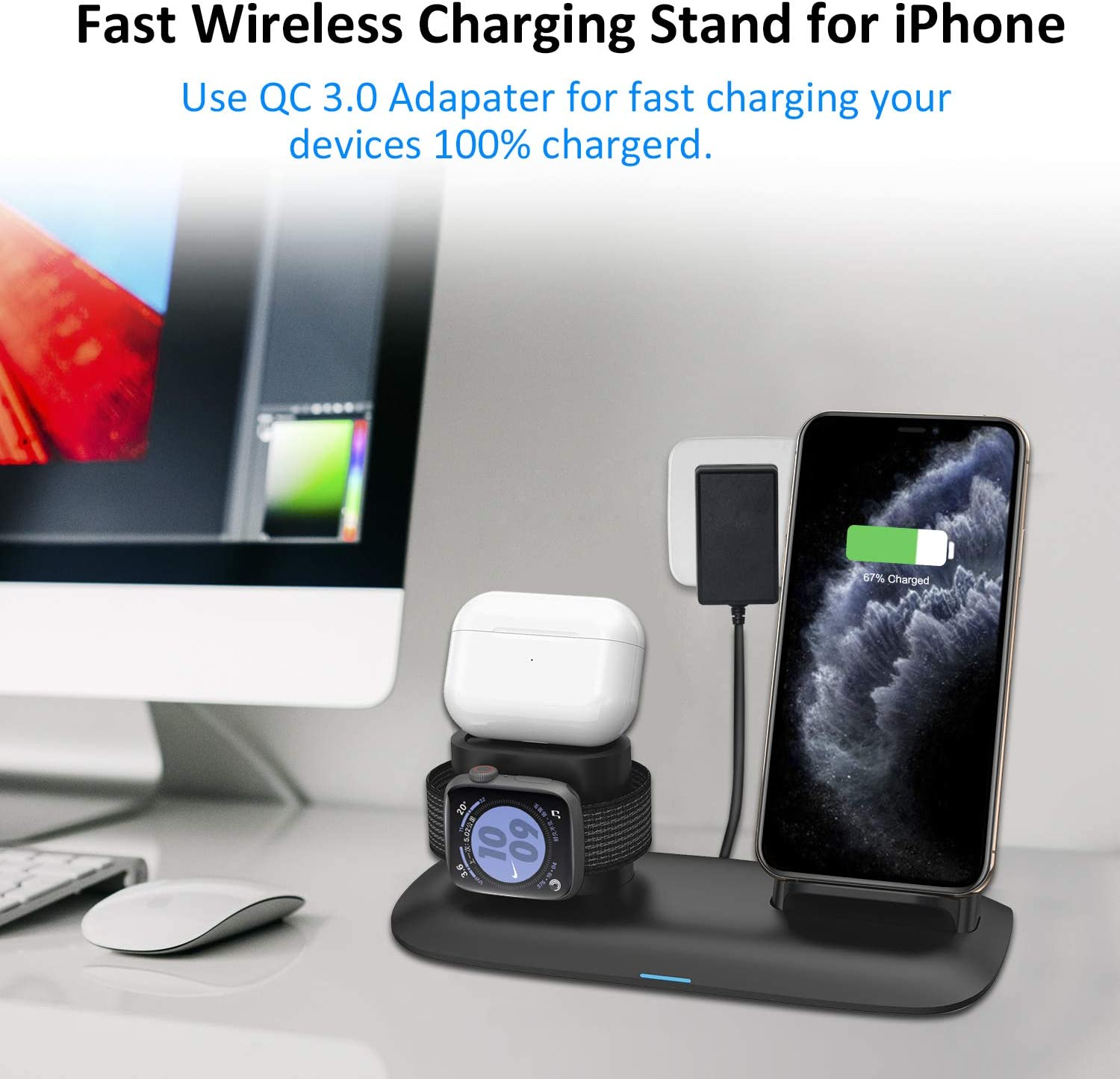 3-in-1 Qi 7.5W//10W Fast Charging Stand Works for iPhone 11//11 Pro//8//8/Plus//Xs MAX//XS//XR and iWatch Series 5 4 3 2 1 Wireless Charging Station for iPhone AirPods and Apple Watch Wireless Charger