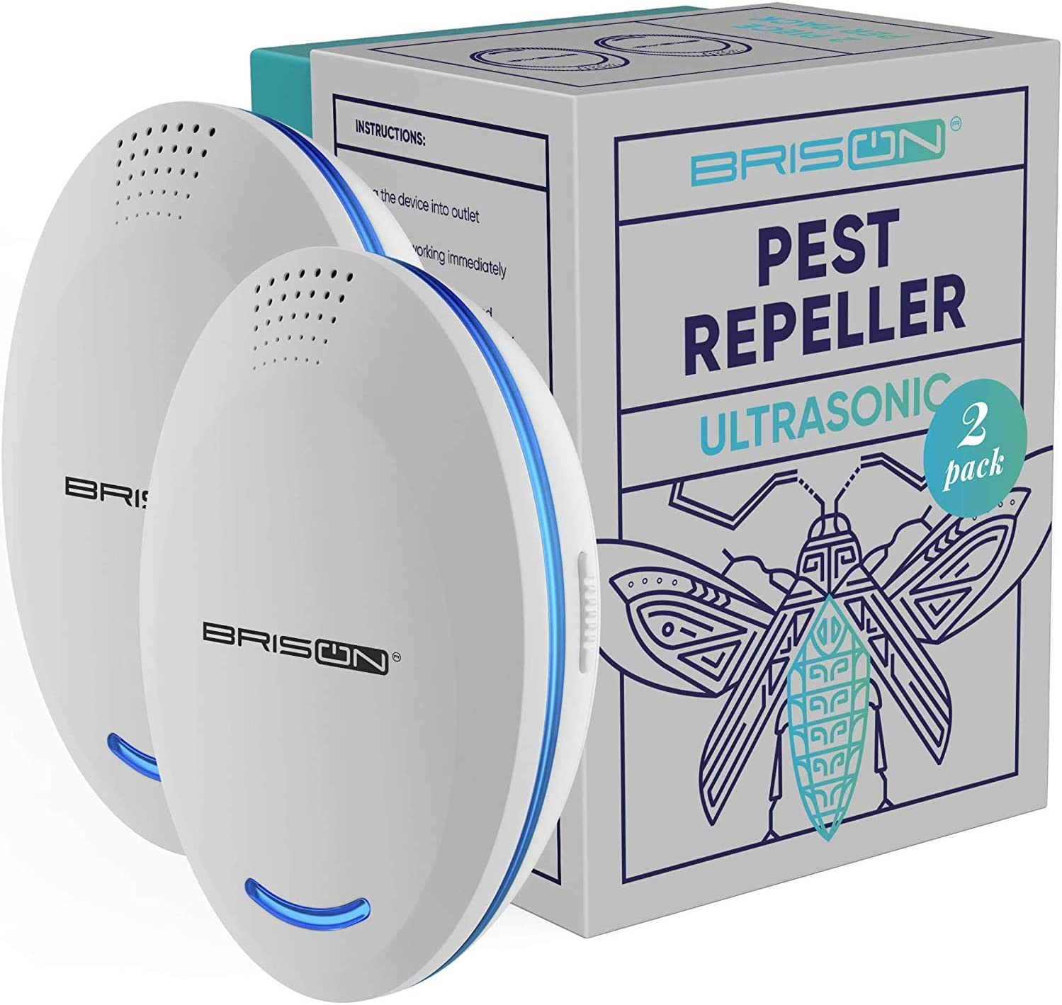 BRISON Ultrasonic Pest Repeller Plug-in Control Electronic Insect Repellent