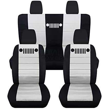 Jeep Seat Covers >> Amazon Com 2011 2018 Jeep Wrangler Jk Seat Covers Black White