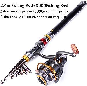 DESIRE DESTINATION 1.8-3.6m Telescopic Fishing Rod and 11BB Fishing Reel Wheel Portable Travel Fishing Rod Spinning Fishing Rod Combo,Red