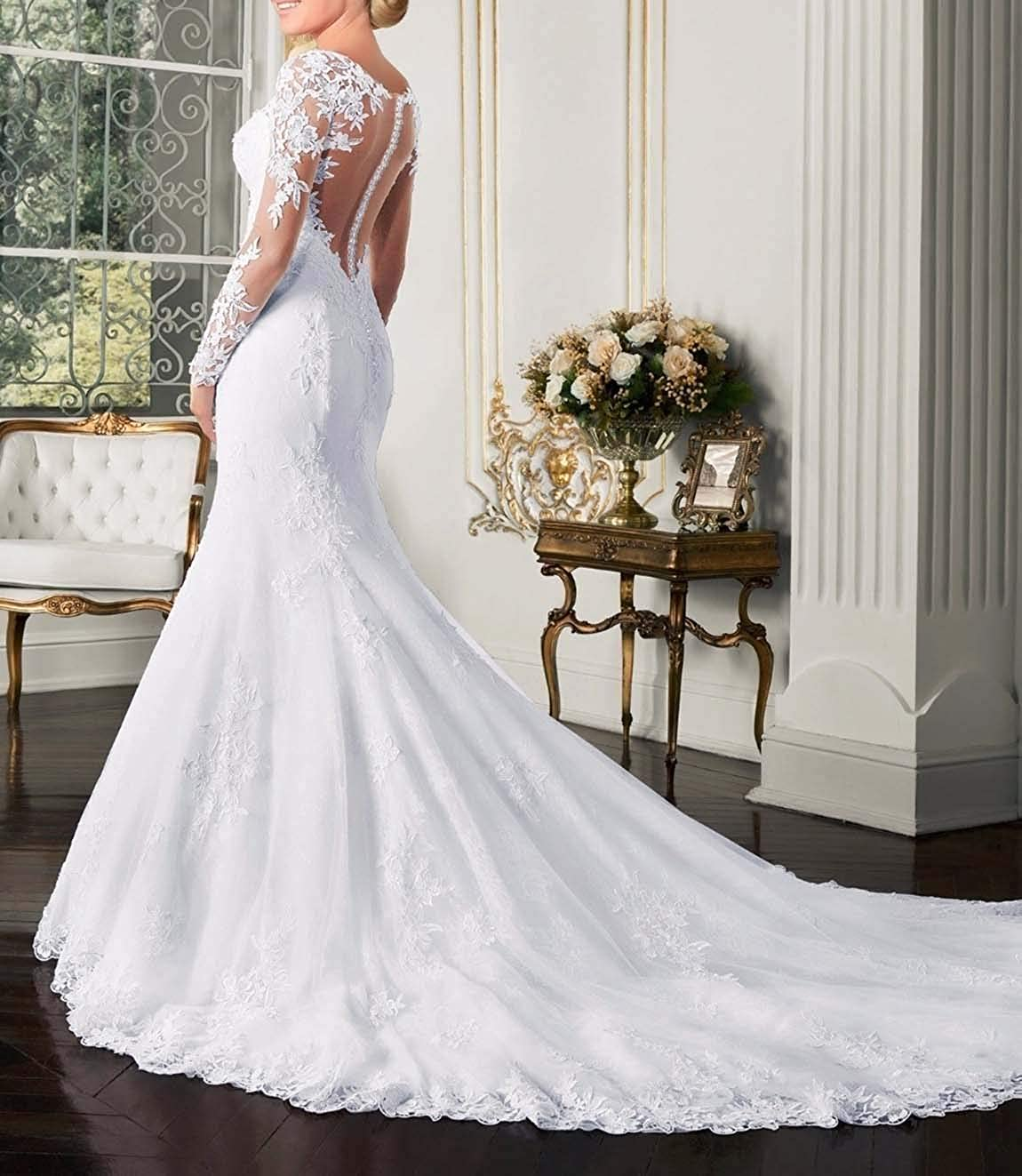 Amazon Com Fashionbride Women S Long Sleeves Mermaid Wedding Dresses For Bride 2020 See Through Back Bridal Gowns Clothing