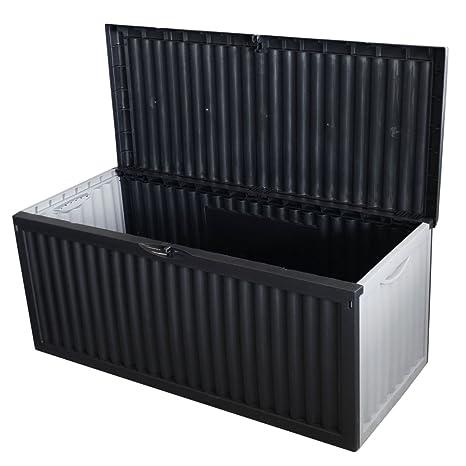 design intemporel 55440 81224 Coffre de rangement en plastique pour le jardin coffre de jardin 350 L  120x54x52cm anthracite pour les coussins mobilier de jardin salon de jardin