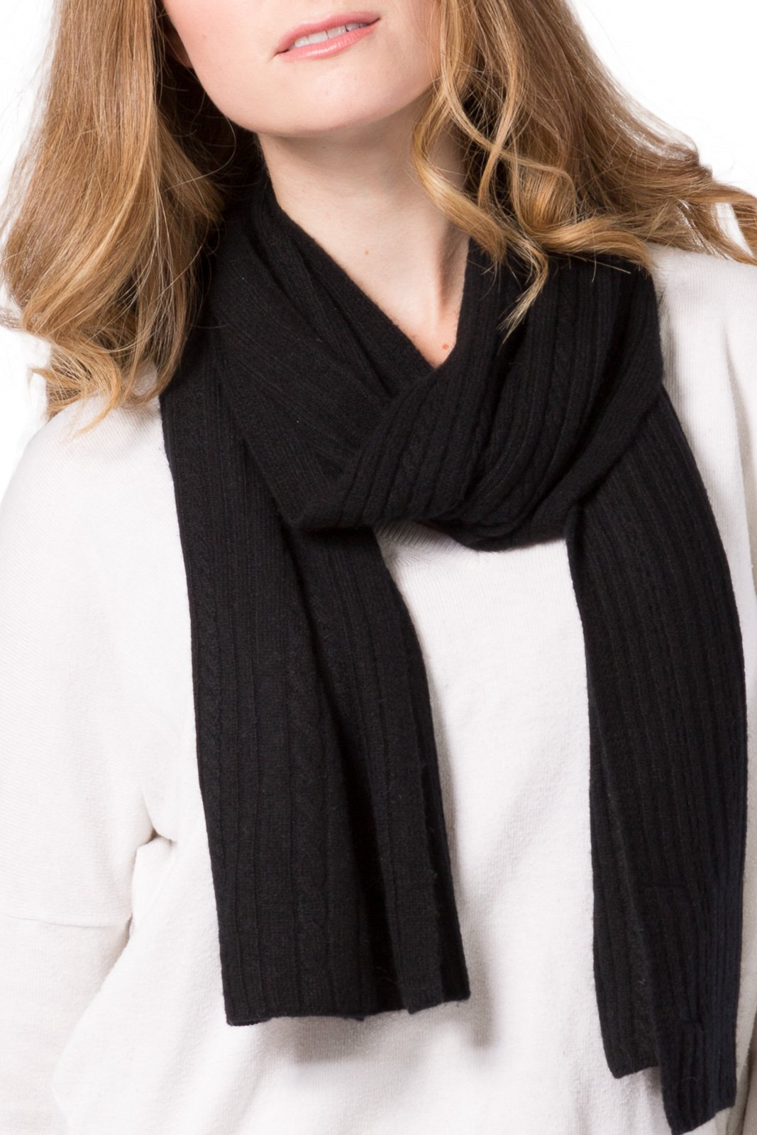 Fishers Finery Women's Cashmere Cable Knitted Scarf; Christmas Gift (Black) by Fishers Finery (Image #4)