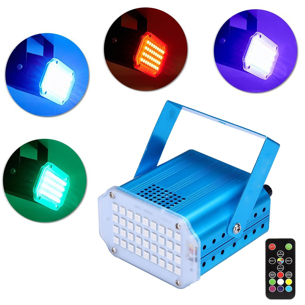 LED Strobe Light with Remote,Flash Stage Party Light Sound Activated and Speed Control for DJ Party Club KTV Home Christmas(RGB Color) by Apatner