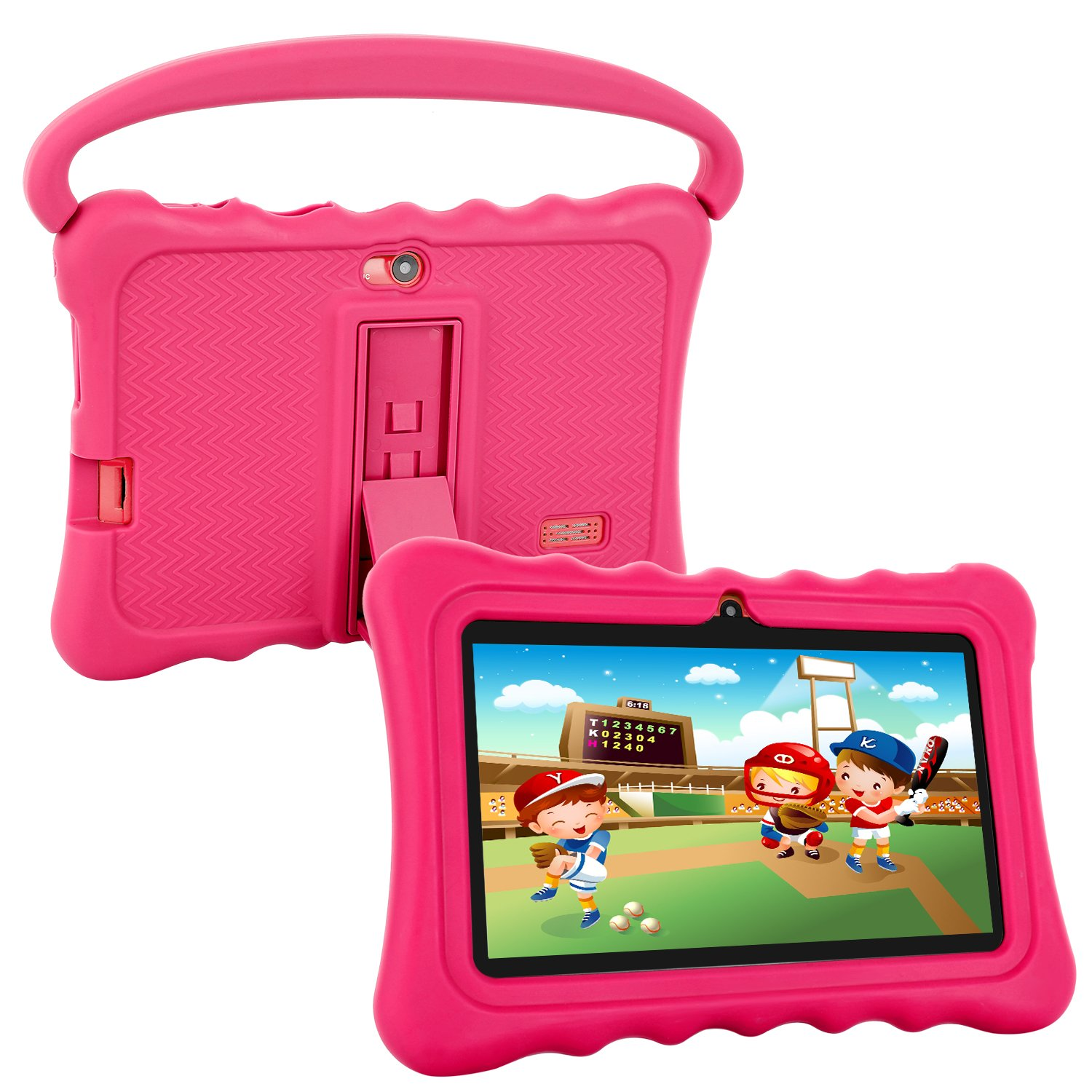 Kids Tablet,Auto Beyond 7 inch Tablet for Kids,Google Android 6.0 with Handle Silicone Case,per-Installed iWawaHome and AR Zoo APP Games,IPS Display Screen,Playstore,1GB+8GB,Wi-Fi,Bluetooth (Pink)
