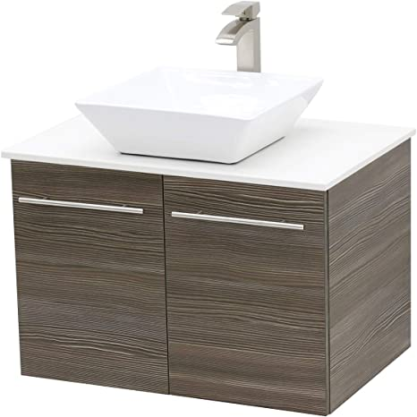 Amazon Com Windbay Wall Mount Floating Bathroom Vanity Sink Set Taupe Grey Vanity White Flat Stone Countertop Ceramic Sink 30 Kitchen Dining
