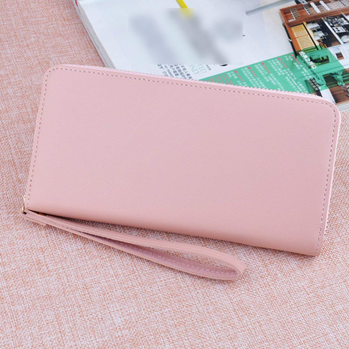 A Cross Fashion Simple Long Zipper Ladies Wallet Large Capacity MultiCard Mobile Wallet Wallet with Hand Strap for Work (color   E)