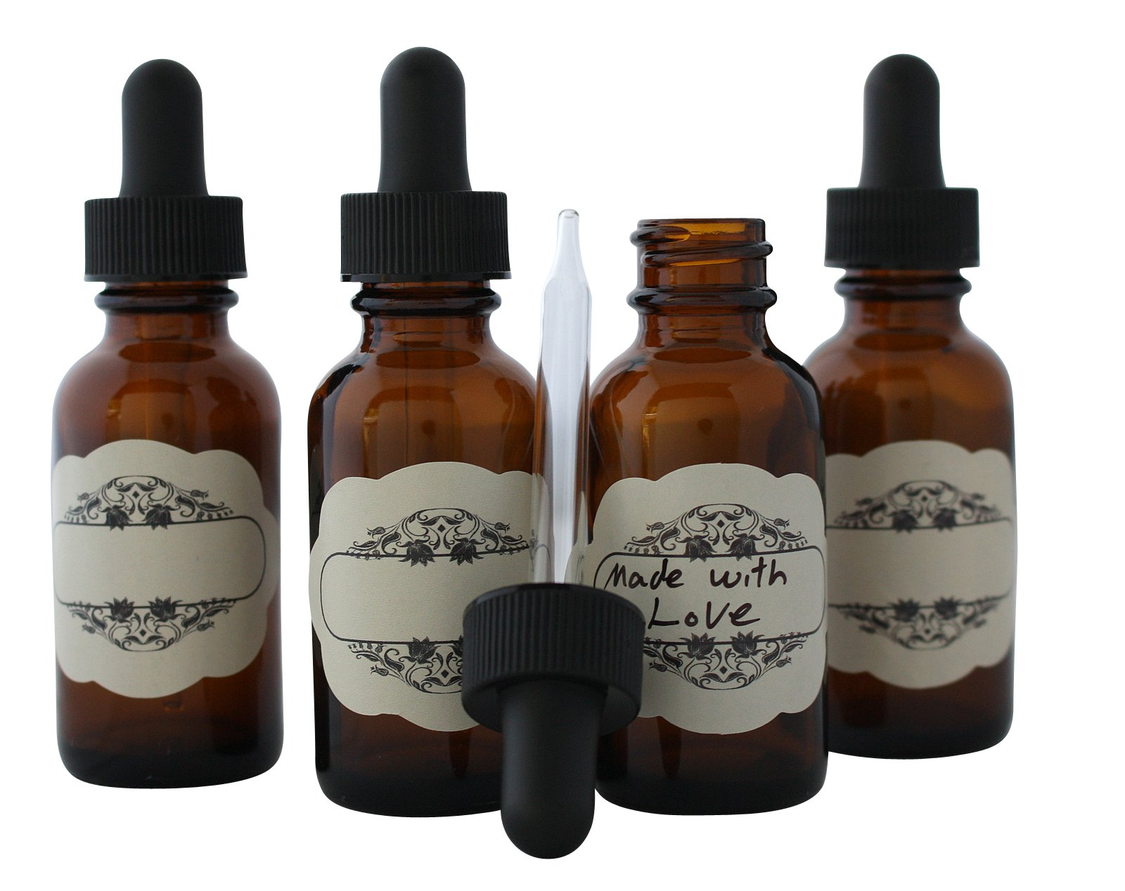 1 Oz (30 ml) Amber Glass Bottles Boston round with glass eye dropper bottle + Include decorative labels - 10 pack