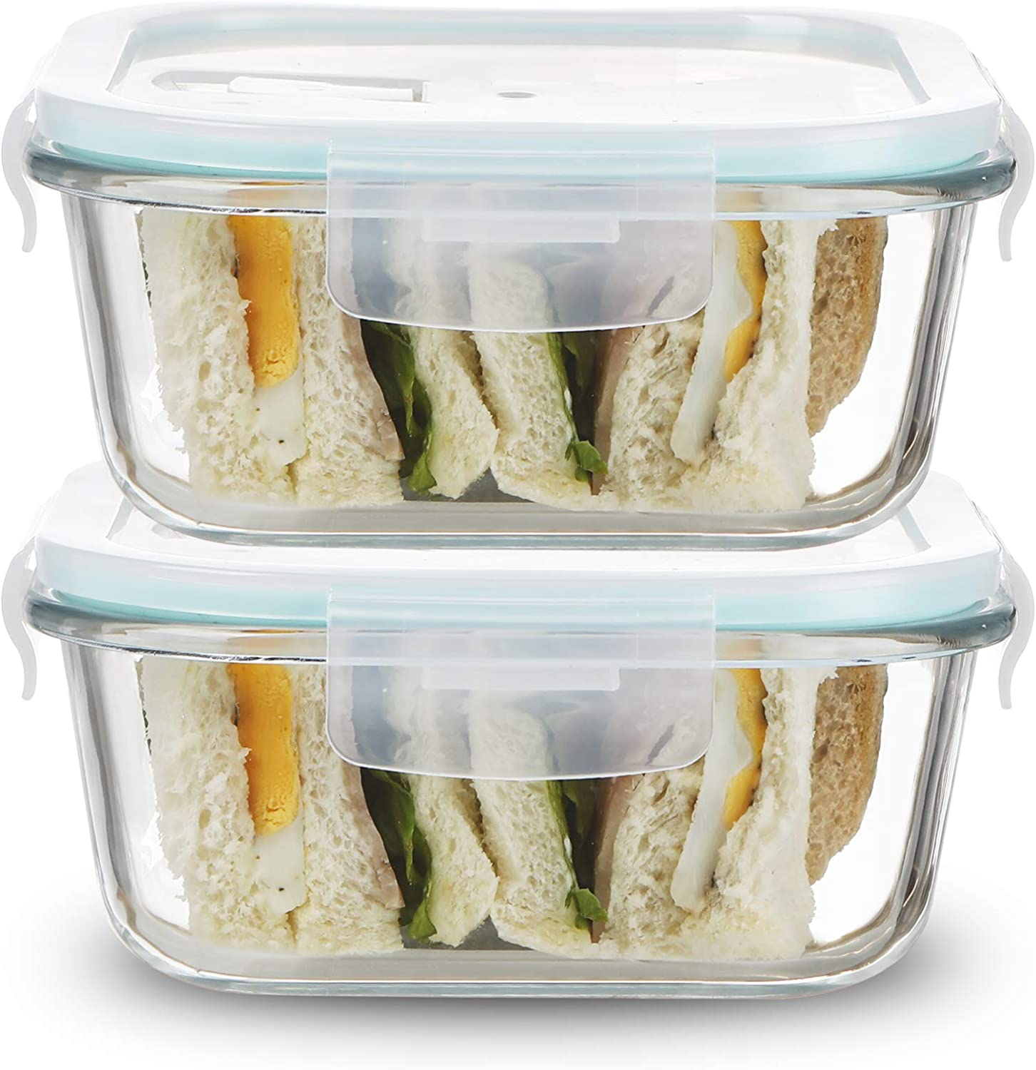 Sweejar 27 oz Glass Food Storage Containers Set with Lids(2 pack),Square Airtight Glass Meal Prep Containers,Lunch Box Containers,Freezer to Oven Safe