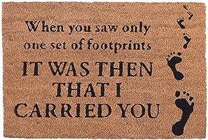 Dicksons Footprints in The Sand Brown 15 x 24 Coconut Coir Rectangular Outdoor Doormat
