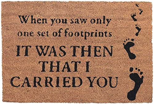 Dicksons Footprints in The Sand Brown 15 x 24 Coconut Coir Rectangular Outdoor Doormat