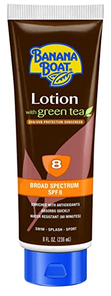 Banana Boat Sunscreen Deep Tanning Lotion with Green Tea Broad Spectrum Sun Care Sunscreen Lotion - SPF 8, 8 Ounce (Pack of 3)